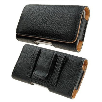 BHAVTAV Leather Holster Carry Case Cover Pouch With Belt Clip For Motorola Fire Xt (Black)