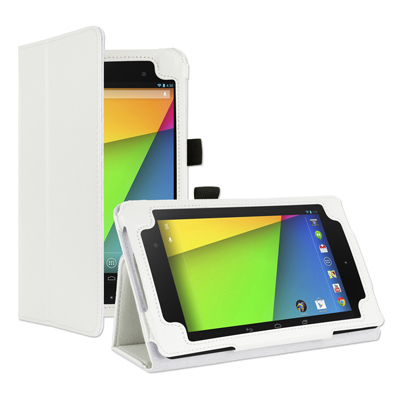 CUBIX White Leather Flip Case Cover Stand For Google Nexus 7 2013 (2Nd Generation) (Smart Cover Sleep And Wake Function) (White)