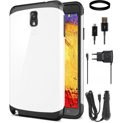 DMG Slim Armor Case For Samsung Galaxy Note 3 With Car Charger And Wall Charger And Data Cable And DMG Wristband Combo Set - 343767