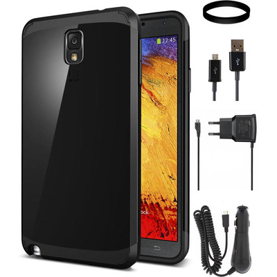 DMG Slim Armor Case For Samsung Galaxy Note 3 With Car Charger And Wall Charger And Data Cable And DMG Wristband Combo Set - 343778