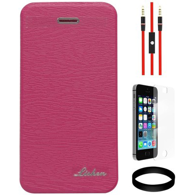 DMG Ultra Thin Rubberized Flip Cover For Apple IPhone 5/5S And AUX Cable And Screen Guard And Wristband Combo Set