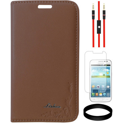 DMG Leather Flip Cover For Samsung Galaxy Gr And Quattro I8552 And AUX Cable And Screen Guard And Wristband Combo Set