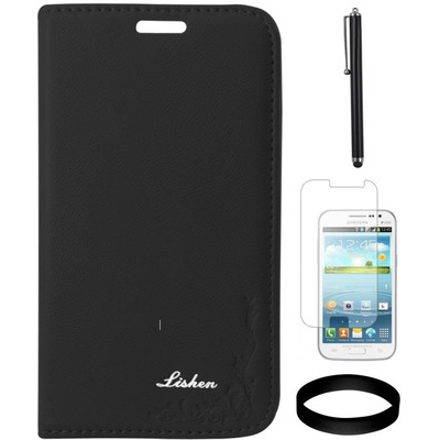 DMG Leather Flip Cover For Samsung Galaxy Gr And Quattro I8552 And Screen Guard And Stylus And Wristband Combo Set
