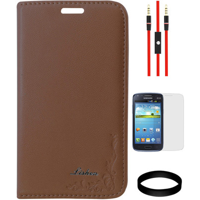 DMG Leather Flip Cover For Samsung Galaxy Core I8262 And AUX Cable And Screen Guard And Wristband Combo Set