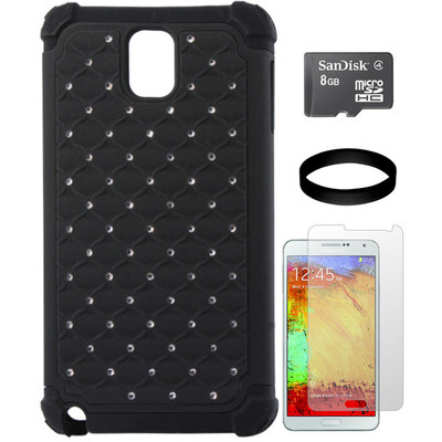 DMG Diamond Hard Back Cover with Silicone Skin for Samsung Galaxy Note 3 N9000 with 8GB microSD and Screen Guard and DMG Wristband Combo Set