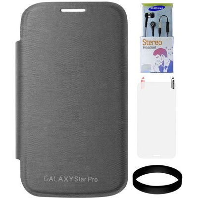 DMG Flip Book Case For Samsung Galaxy Star Pro S7262 (Black) With Samsung Black Earphones And Screen Guard And Wristband Combo Set