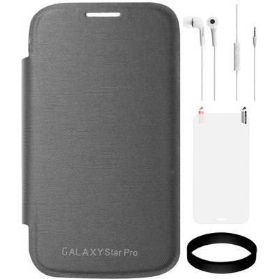 DMG Flip Book Case For Samsung Galaxy Star Pro S7262 (Black) With Samsung White Earphones And Screen Guard And Wristband Combo Set