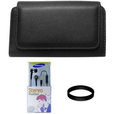 DMG Stitched Leather Pouch Case for Samsung Galaxy S Duos S7562 with Box Packed Black Earphones and Wristband Combo Set