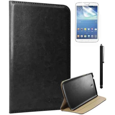 DMG Flip Stand Book Cover Case For Samsung Galaxy Tab 3 T211 With Matte Screen Protector + Stylus Combo Set