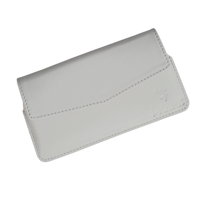 IKitPit Genuine Leather Pouch Case Cover For Karbonn A21+ (WHITE)