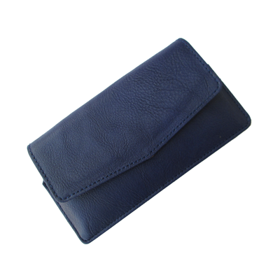 IKitPit PU Leather Pouch Case Cover For Videocon A42 (NAVY BLUE)
