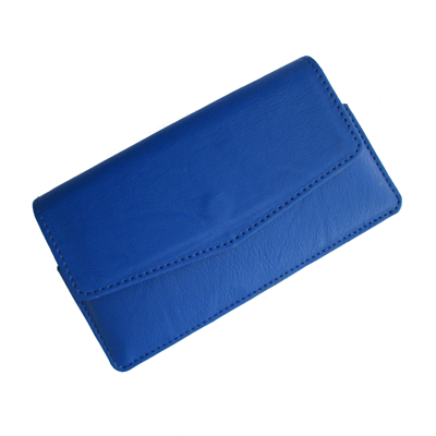 IKitPit PU Leather Pouch Case Cover For Videocon A15+ (BLUE)