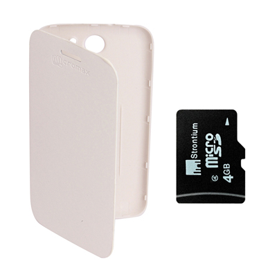 KolorEdge Flip Cover +  4Gb Memory Card For Micromax Canvas A110 - White