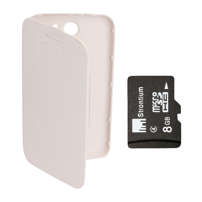 KolorEdge Flip Cover +  8Gb Memory Card For Micromax Canvas A110 - White