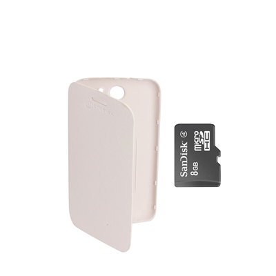 KolorEdge Flip Cover+8Gb Sandisk Memory Card For Micromax Canvas A110 - White