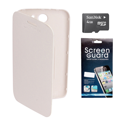 KolorEdge Flip Cover +  Screen Protector + 4Gb Sandisk Memory Card For Micromax Canvas A110 - White
