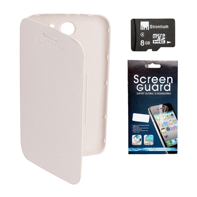 KolorEdge Flip Cover +  Screen Protector +  8Gb Memory Card For Micromax Canvas A110 - White