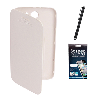 KolorEdge Flip Cover +  Screen Protector + Stylus Pen For Micromax Canvas A110 - White