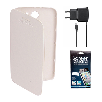 KolorEdge Flip Cover +  Screen Protector +  Travel Charger For Micromax Canvas A110 - White
