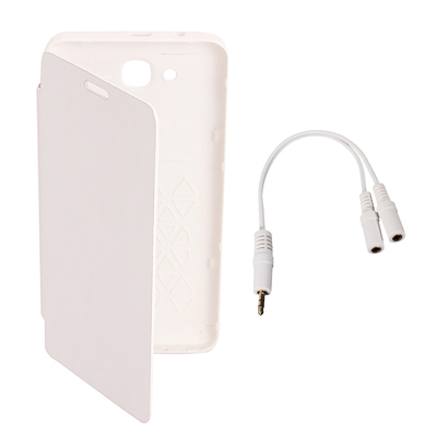 KolorEdge Flip Cover+Audio Splitter For Karbonn A21+- White