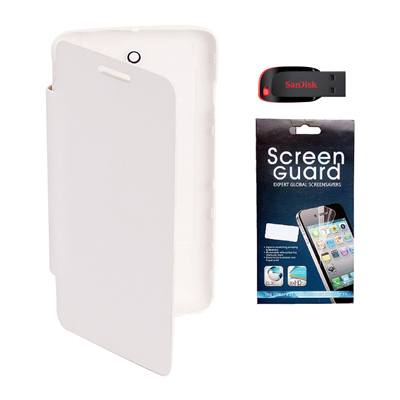 KolorEdge Flip Cover + Screen Protector + 8Gb Pen Drive  For Karbonn A 2+ - White