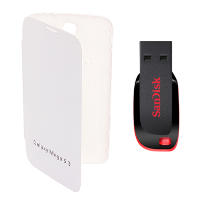 KolorEdge Flip Cover+Sandisk 4 GB Pan Drive For Samsung Galaxy Mega I9200 - White