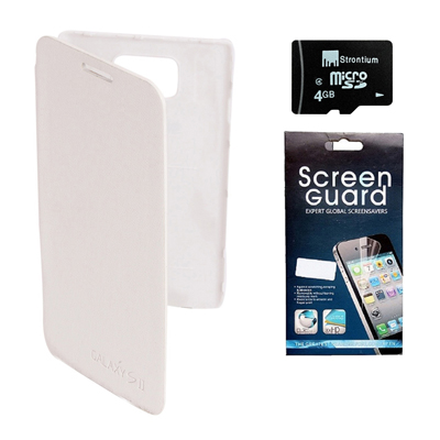 KolorEdge Flip Cover +  Screen Protector +  Micro 4GB Memory Card For Smasung Galaxy S2 - White