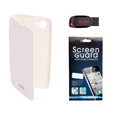 KolorEdge Flip Cover +  Screen Protector + Sandisk 8 GB PanDrive For Karbonn A29  - White
