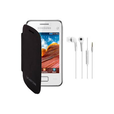KolorEdge Flip cover+HandsFree For Samsung Galaxy Star -Samsung -black