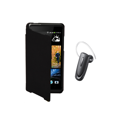 KolorEdge Flip cover+Samsung HM1100 Bluetooth Headset For Samsung Galaxy Star -black