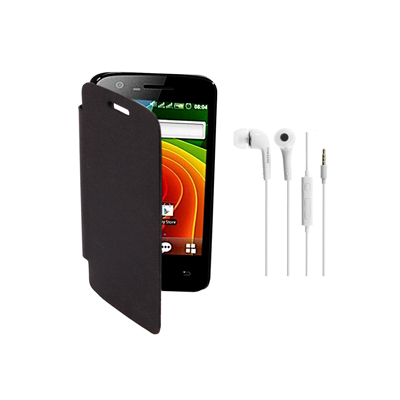 KolorEdge Flip Cover+HandsFree For MicroMax Bolt A26 -Micromax -black