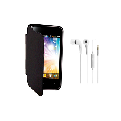 KolorEdge Flip Cover+HandsFree For MicroMax A54 Ninja -Micromax -black