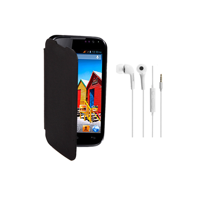 KolorEdge Flip Cover+HandsFree For MicroMax Canvas A88 -Micromax -black
