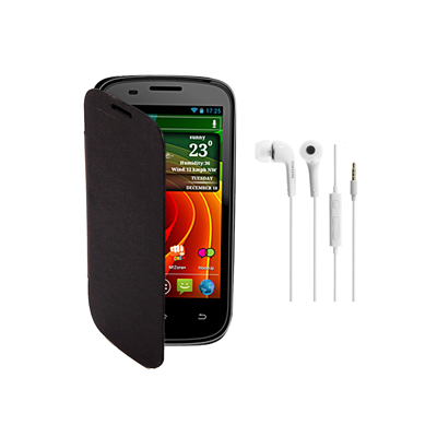 KolorEdge Flip Cover+HandsFree For MicroMax A89 Ninja -Micromax -black