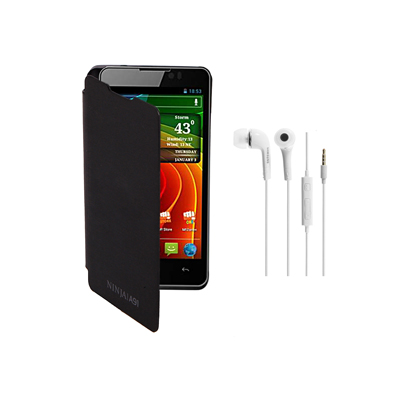 KolorEdge Flip Cover+HandsFree For MicroMax Ninja A91 -Micromax -black