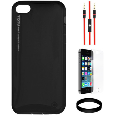 Totu Ice-Cream Hardshell TPU For Apple IPhone 5/5S And AUX Cable And Screen Guard And Wristband Combo Set