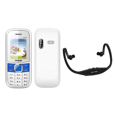 Vox V3100 Triple Sim Mobile(White & Blue) With Cordless Mp3 Player