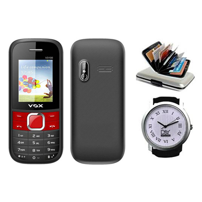 Vox V3100 Triple Sim Mobile(Black & Red) With Alluminium Wallet And D&Y Watch