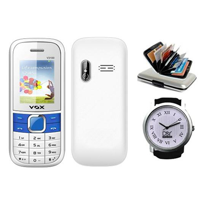 Vox V3100 Triple Sim Mobile(White & Blue) With Alluminium Wallet And D&Y Watch