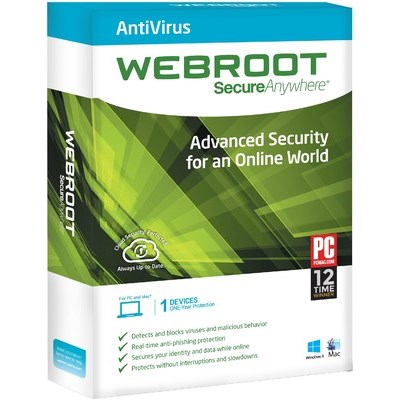 Webroot Secure Anywhere Antivirus 1 PC 1 Year
