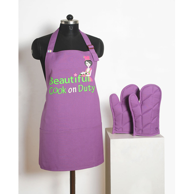 Swayam Graffiti Apron Set (3 Pcs) Free Adjustable Size - 274987