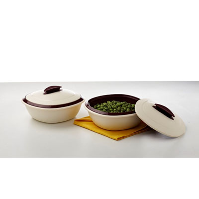 Signoraware Double Wall Casserole 1 Ltr With Lid (Set Of 2)