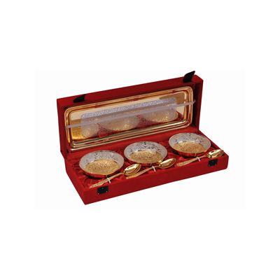 Rangsthali Vogunish Designer Silver And Gold Plated Brass Bowl With Box -Set Of 7 Pcs