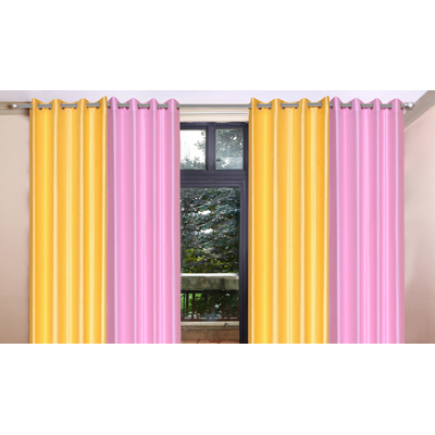 Handloomhub Stylish Door Curtain (Set Of 4) 2 Yellow And 2 Light Pink