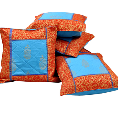 Little India Jaipuri Gold Print Cotton Cushion Cover Set