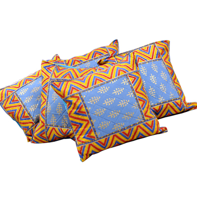 Little India Sanganeri Gold Print Cotton Cushion Cover Set