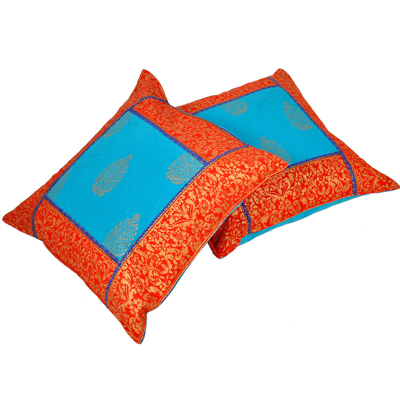 Little India Jaipuri Gold Print Cotton Cushion Cover Pair