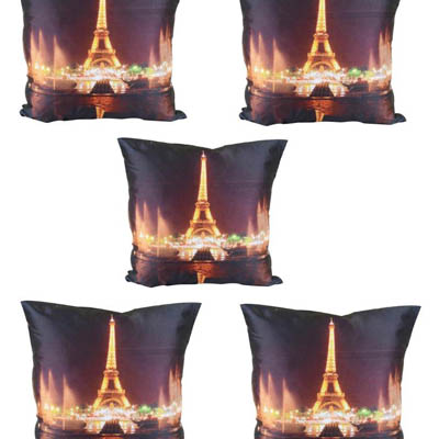 MeSleep Effel Tower With Light Cushion Covers Digitally Printed 7 Wonder Of The World Series Set Of 5