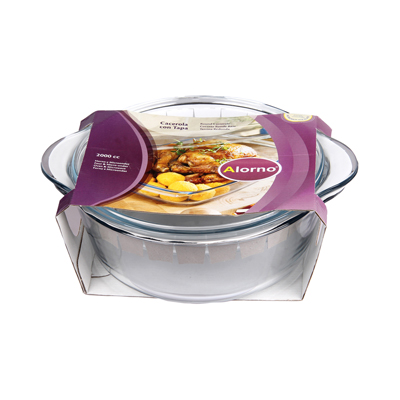 Alorno Europe Borosilicate Glass Microwave And Oven Safe Easy Hands Deep Round Big Casserole With Lid