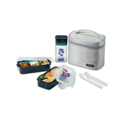 Lock & Lock 3Pcs Lunch Box Set With Grey Bag